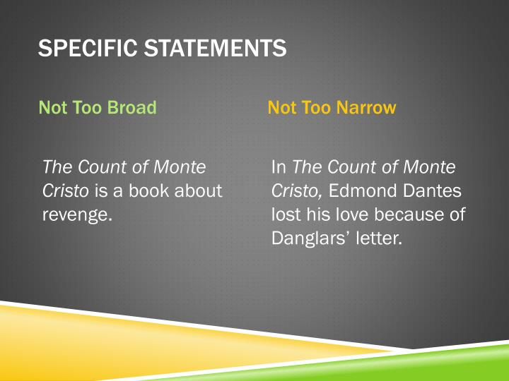 Specific Statements