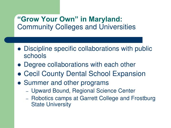 """Grow Your Own"" in Maryland:"