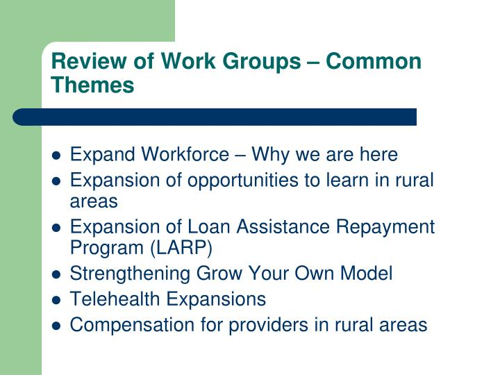 Review of work groups common themes