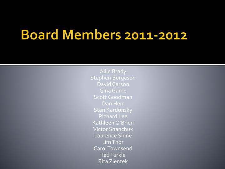 Board Members 2011-2012
