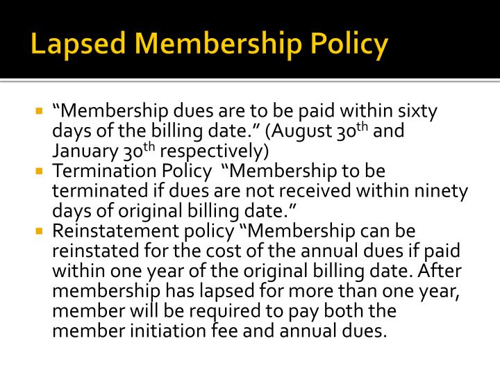 Lapsed Membership Policy