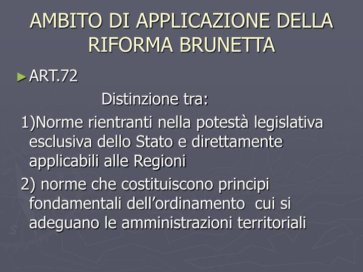 AMBITO DI APPLICAZIONE DELLA RIFORMA BRUNETTA