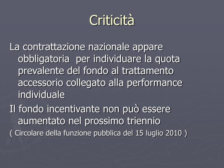 Criticità