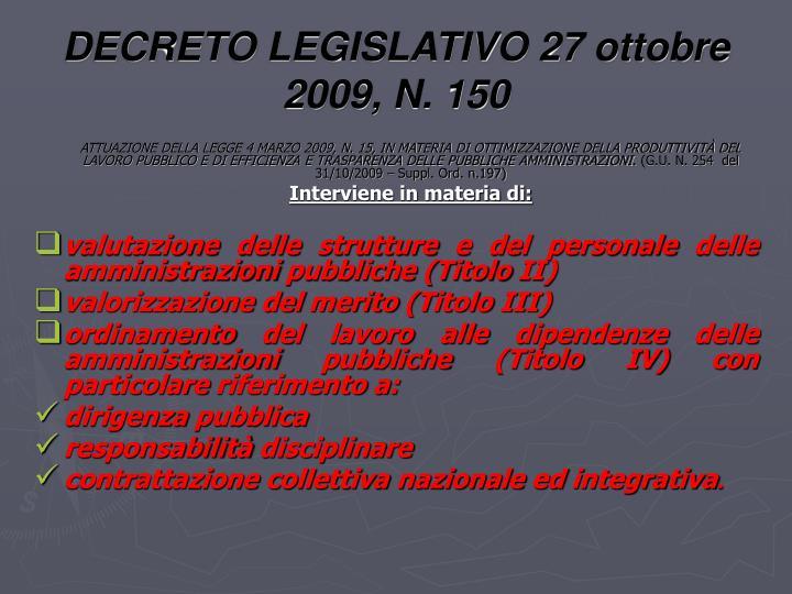 DECRETO LEGISLATIVO 27 ottobre 2009, N. 150