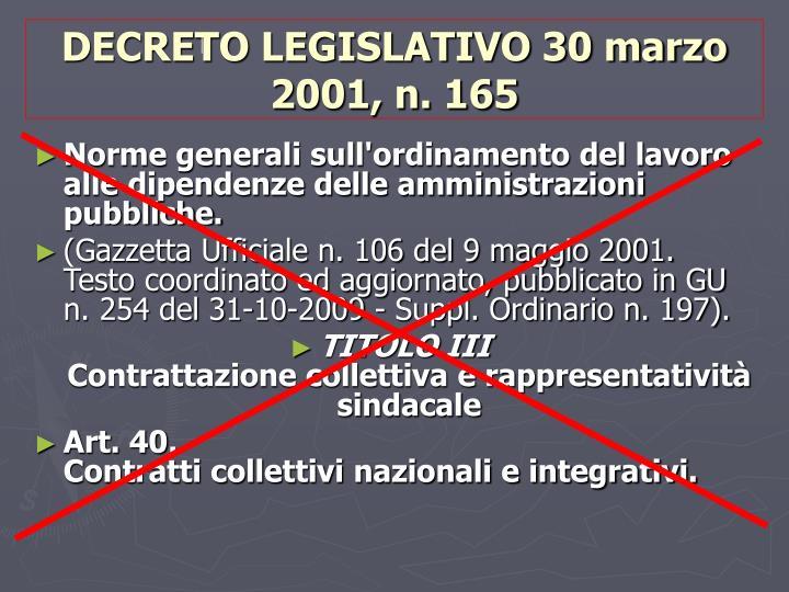 DECRETO LEGISLATIVO 30 marzo 2001, n. 165