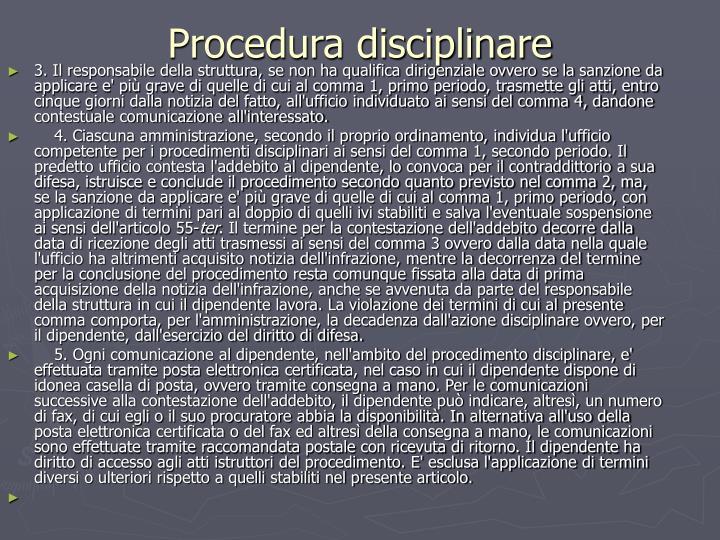 Procedura disciplinare
