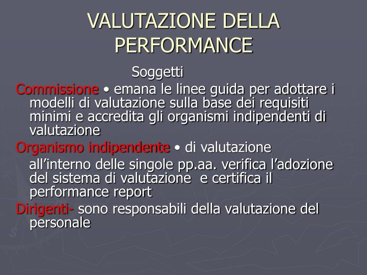 VALUTAZIONE DELLA PERFORMANCE