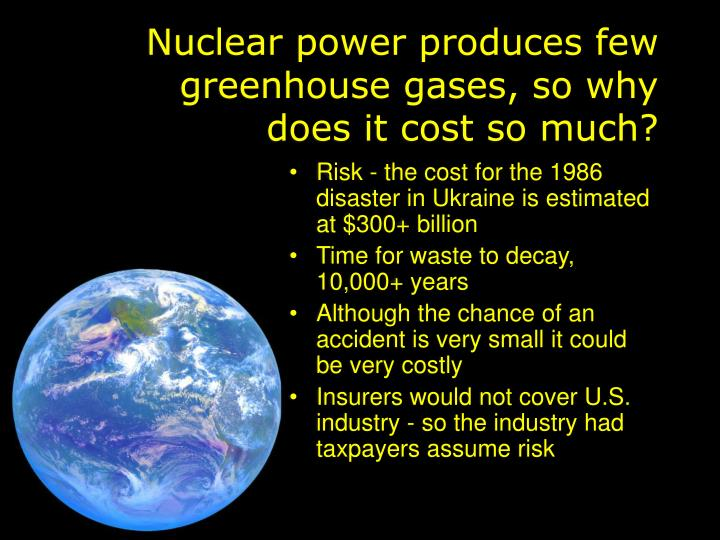 Nuclear power produces few greenhouse gases, so why