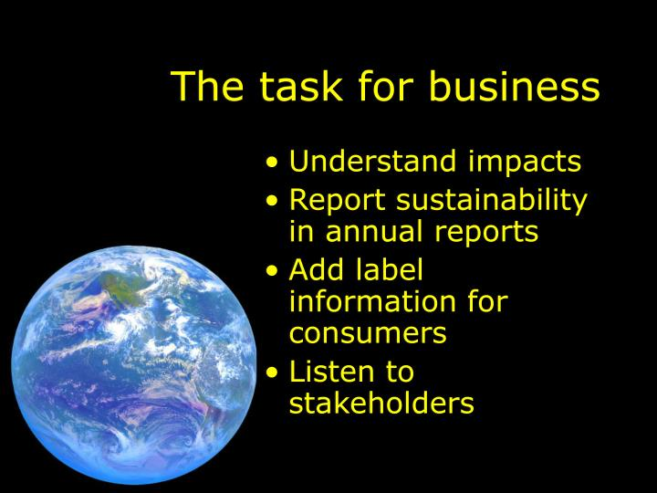 The task for business
