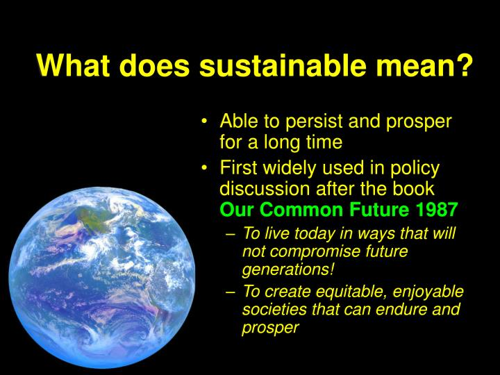 What does sustainable mean?