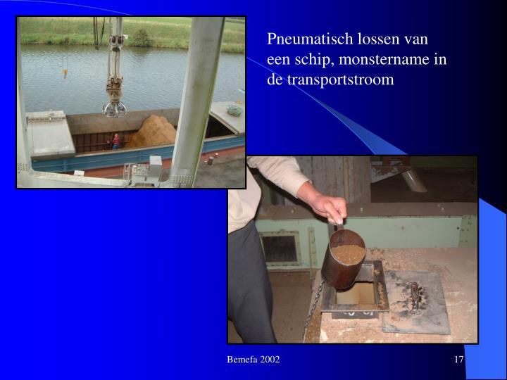 Pneumatisch lossen van een schip, monstername in de transportstroom