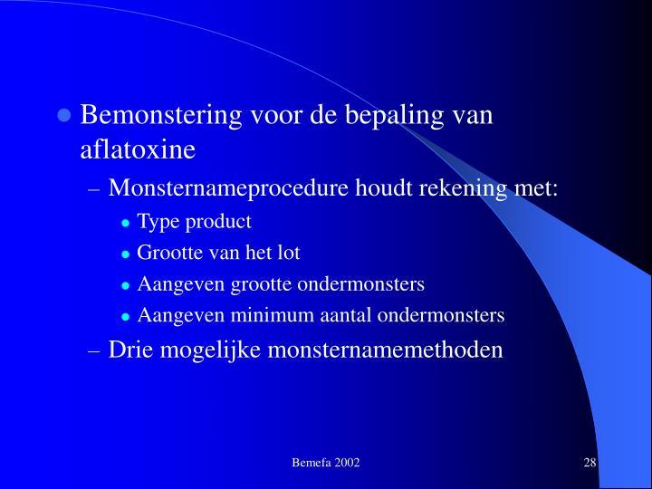 Bemonstering voor de bepaling van aflatoxine