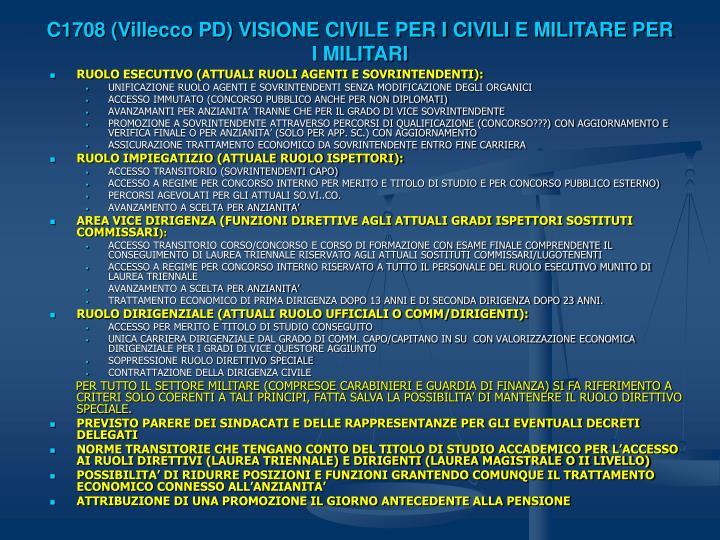 C1708 (Villecco PD) VISIONE CIVILE PER I CIVILI E MILITARE PER I MILITARI