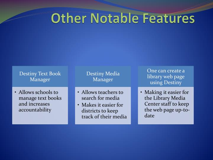 Other Notable Features
