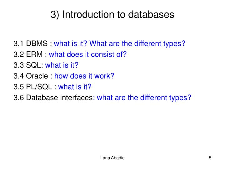 3) Introduction to databases