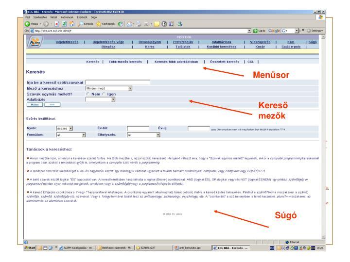 WebOpac - nyitófelület