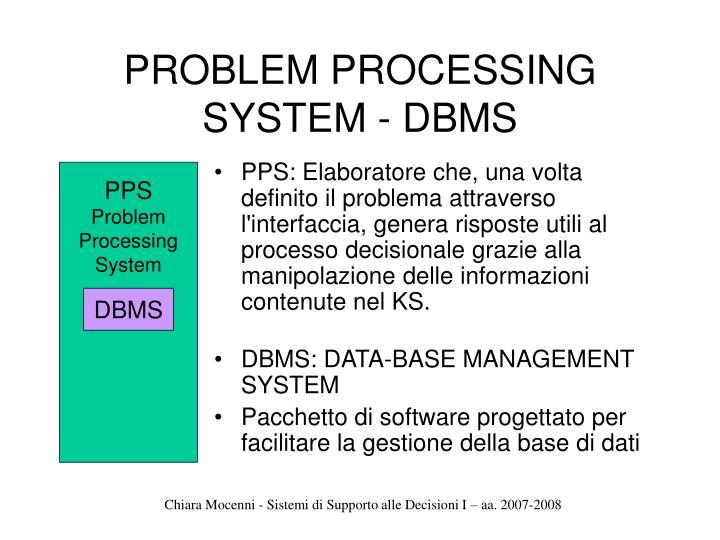 PROBLEM PROCESSING SYSTEM - DBMS