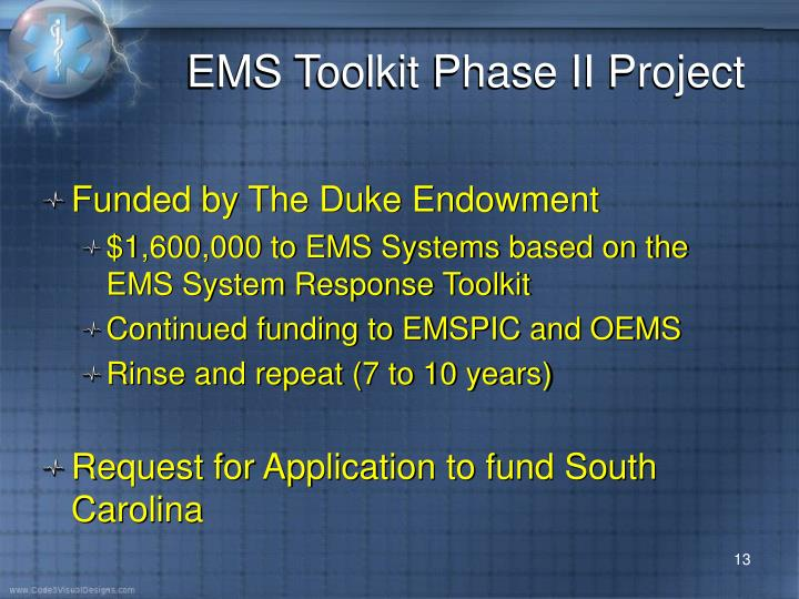 EMS Toolkit Phase II Project