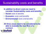 sustainability costs and benefits
