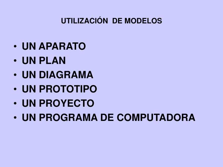 UTILIZACIÓN  DE MODELOS