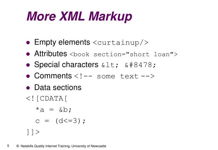More XML Markup