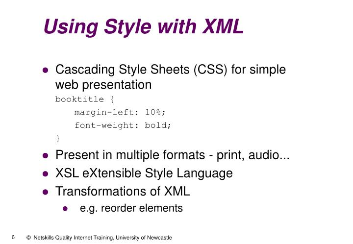Using Style with XML