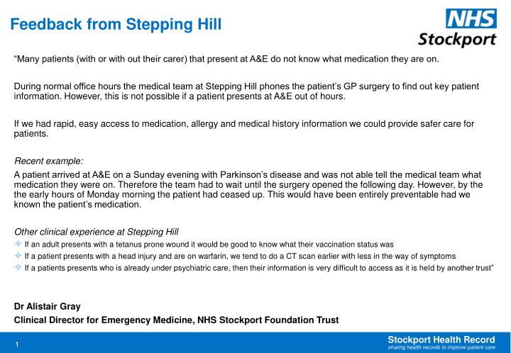 Feedback from Stepping Hill