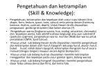 pengetahuan dan ketrampilan skill knowledge