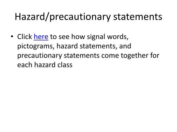 Hazard/precautionary statements