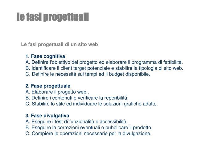 Le fasi progettuali di un sito web