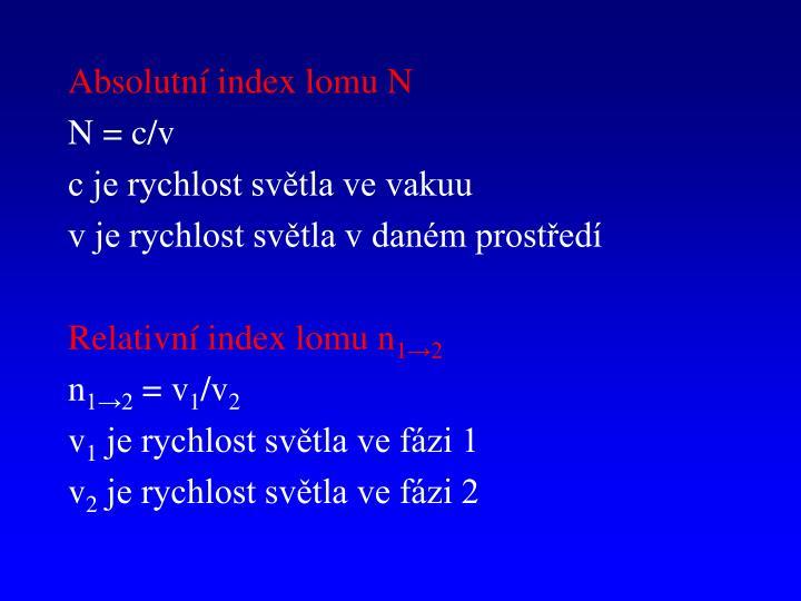 Absolutní index lomu N
