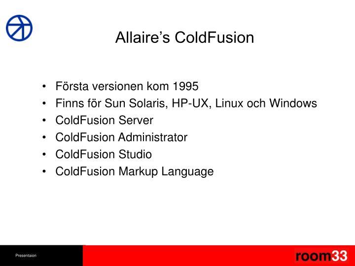 Allaire's ColdFusion
