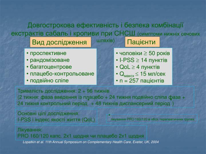 Довгострокова ефективність і безпека комбінації екстрактів сабаль і кропиви