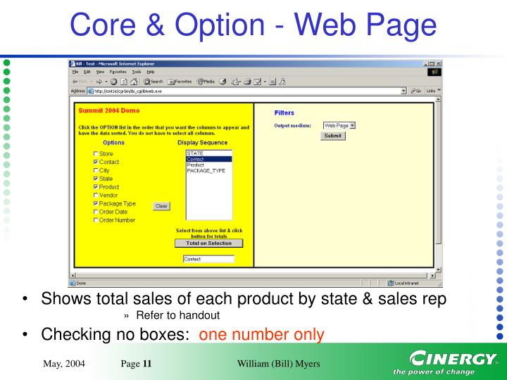 Core & Option - Web Page