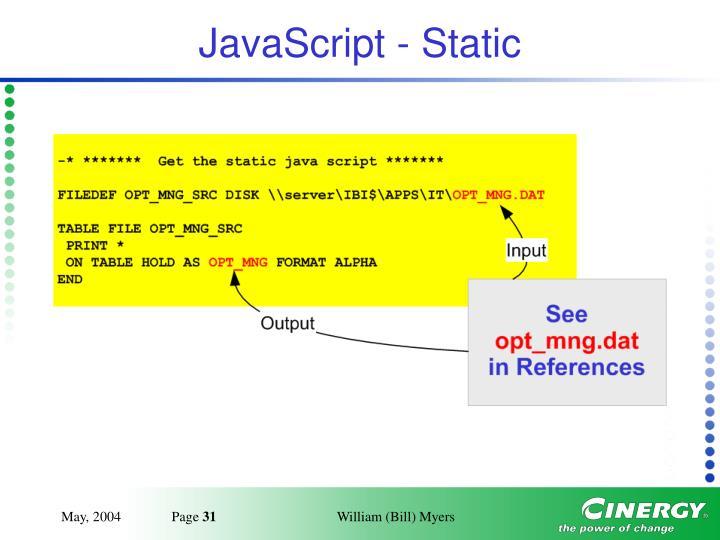JavaScript - Static