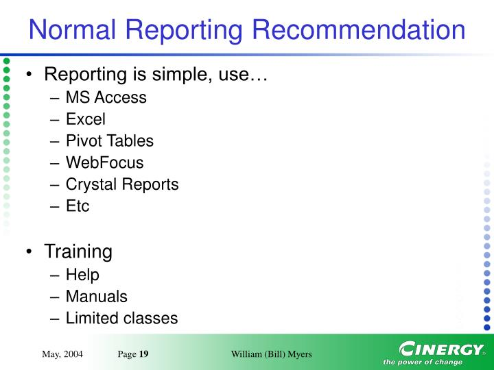 Normal Reporting Recommendation