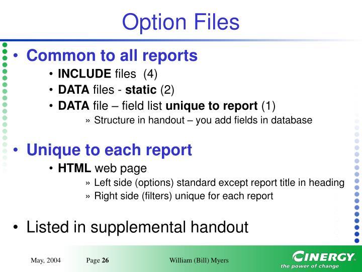 Option Files