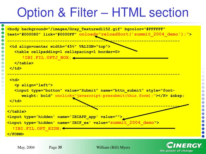 Option & Filter – HTML section