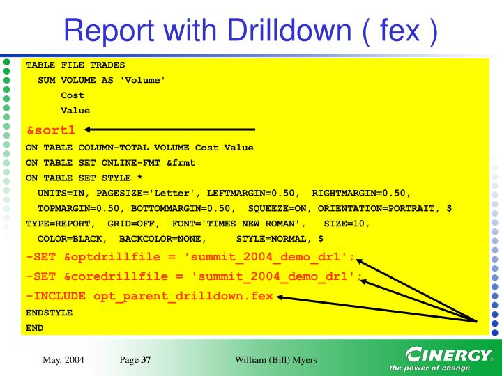 Report with Drilldown ( fex )