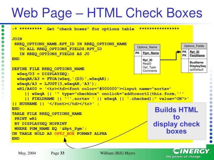 Web Page – HTML Check Boxes