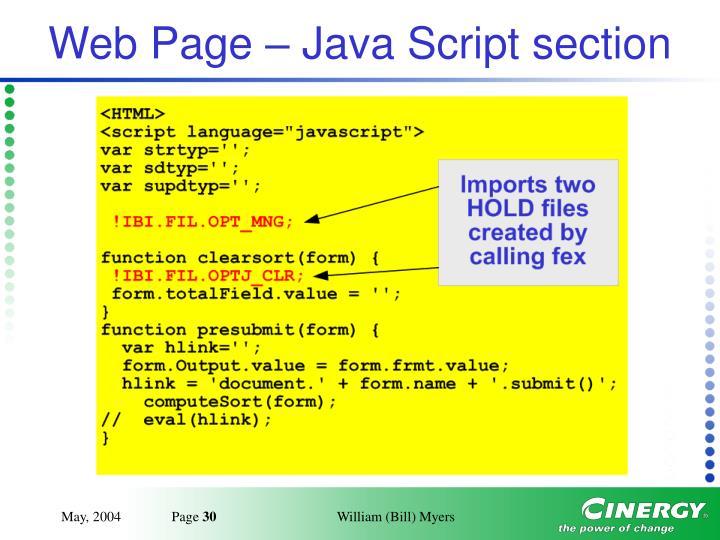 Web Page – Java Script section