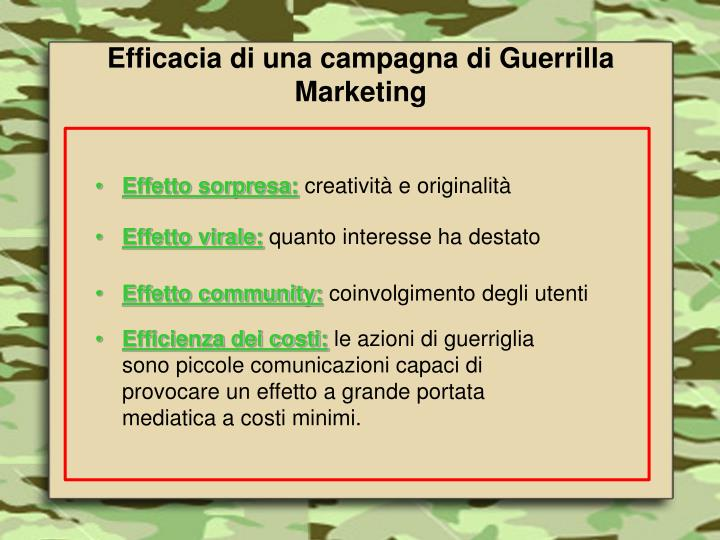 Efficacia di una campagna di Guerrilla Marketing