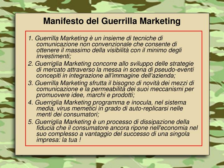 Manifesto del Guerrilla Marketing