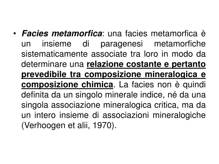 Facies metamorfica