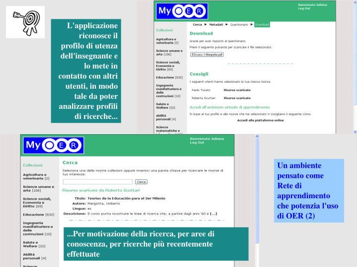 L'applicazione riconosce il profilo di utenza dell'insegnante e lo mete in contatto con altri utenti, in modo tale da poter analizzare profili di ricerche...