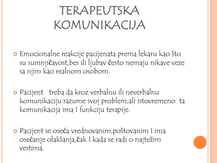 TERAPEUTSKA KOMUNIKACIJA