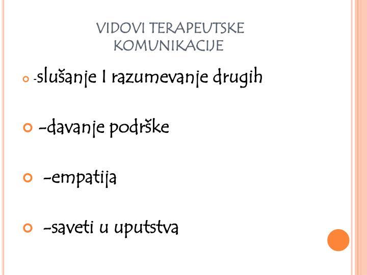 VIDOVI TERAPEUTSKE