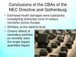 conclusions of the cbas of the nec directive and gothenburg