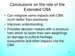 conclusions on the role of the extended cba
