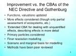 improvement vs the cbas of the nec directive and gothenburg